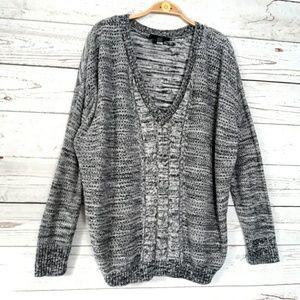 Lane Bryant Heather Gray V Neck Sweater size 22/24